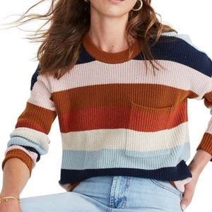Madewell Thompson Rainbow Stripe Pocket Sweater